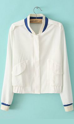 $27 Only!!Fashionable invisible zipper mixed color jacket white.free shipping