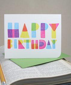 Geometric Happy Birthday - Letterpress Printed Card