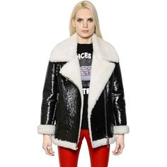 EACH X OTHER Coated Vinyl & Shearling Biker Jacket (3,355 CAD) ❤ liked on Polyvore featuring outerwear, jackets, black, vinyl jacket, black jacket, black shearling jacket, collar jacket and shearling motorcycle jacket