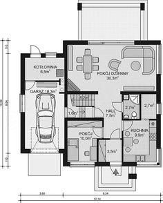 Projekt domu APS 184 NEW 132,2 m2 - koszt budowy - EXTRADOM Smart House, Bungalows, Planer, House Plans, Floor Plans, Homes, How To Plan, Living Room, Nature