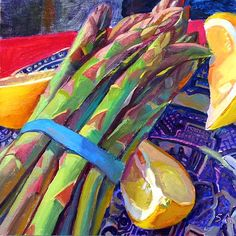 "Susan Abbott: ""Asparagus on Blue Willow"", 2008"