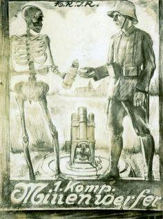 """""""Reserve-Infanterie-Regiment Nr. 16, 1. Komp. Minenwerfer"""" Und der Tod unser ständiger begleiter… Quelle"""