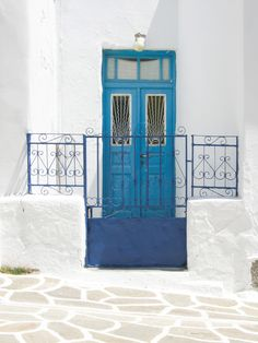 blue door on the Greek Islands