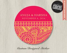 100 Custom Wedding Stickers - Indian Spice Henna Theme - 2 inch round. $25.00, via Etsy.
