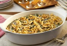 This green bean casserole recipe with cream of mushroom soup and french fried onions that takes only 40 minutes to cook is perfect for serving a crowd.