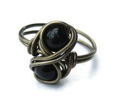 Gothic Jewelry Gemstone Infinity Ring Wire by DistortedEarth