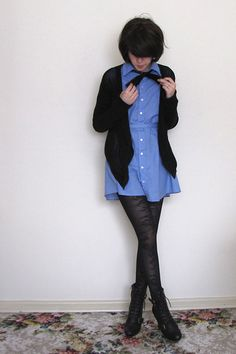 love this look for this fall i love the bow tie trend on womens collard dresses and tops Collard Dress, American Apparel Dress, Dressing, Blue Shirt Dress, Tights, My Style, Womens Fashion, How To Wear, Genderqueer