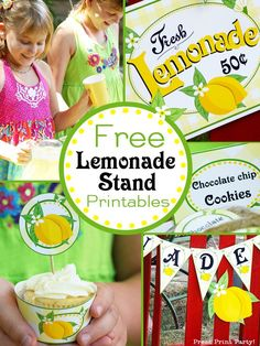 Free lemonade stand printables to help you set up a successful lemonade stand this summer. Or use them for a lemonade party! Kids Summer party ideas - Lemonade stand ideas DIY - Lemonade stand sign & decorations - By Press Print Party!