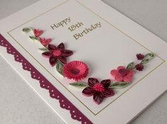 Handmade 18th birthday card with quilling flowers. £6.25, via Etsy.