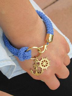 nautical bracelet - DIY and Crafts Jewelry Crafts, Jewelry Bracelets, Handmade Jewelry, Anchor Jewelry, Bead Crochet, Crochet Necklace, Crochet Rope, Rope Necklace, Bracelet Cordon