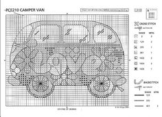 Camper Van 2 of 2 Cross Stitching, Cross Stitch Embroidery, Embroidery Patterns, Hand Embroidery, Just Cross Stitch, Cross Stitch Heart, Cross Stitch Designs, Cross Stitch Patterns, Canvas Designs