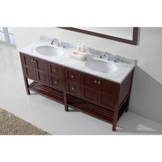 Virtu USA Winterfell 72 in. W x 22 in. D Vanity in Cherry with Marble Vanity Top…