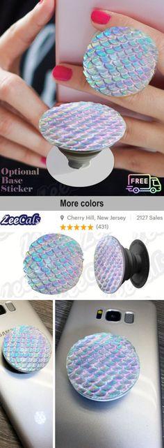 52ea9254 3D Mermaid Scale Textured Iridescent Posh Phone Grip Posh phone Socket Grip  Socket POP