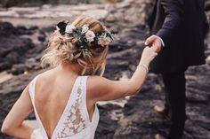 Boho bride | loose messy curls | bridal up do | flower crown. Hair & makeup by kls