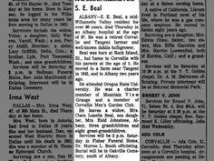 obit for S. E. Beal