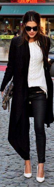 White jumper under long black coat - classy winter outfit