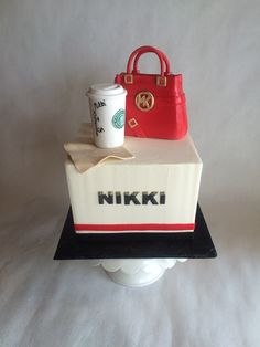Michael Kors purse | birthday cake | MK | starbucks | coffee | americano | custom toppers | fondant | buttercream base