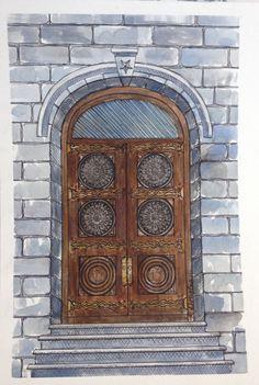 Salt Lake Temple Doors Original Watercolor by KristinDouglasART, $55.00