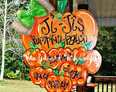 Pumpkin sign Wood Cut Out Door Hanger by TheWaywardWhimsy on Etsy Halloween Door Hangers, Fall Door Hangers, Wooden Door Hangers, Wood Pumpkins, Fall Pumpkins, Painted Pumpkins, Fall Crafts, Halloween Crafts, Halloween Stuff