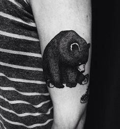 little bear tattoo Tatoo Art, Body Art Tattoos, Sleeve Tattoos, Ankle Tattoo Small, Small Tattoos, White Tattoos, Ankle Tattoos, Tiny Tattoo, Black Bear Tattoo