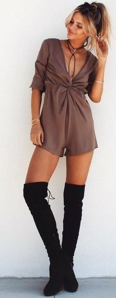 #summer #musthave #outfits | Taupe Playsuit + Overknees
