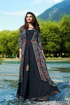 Buy Classy Gray Colored Partywear Printed Satin-Crepe Jacket Style Long Kurti at Rs. Get latest Partywear kurti for womens at Peachmode. Indian Gowns Dresses, Indian Fashion Dresses, Indian Designer Outfits, Indian Outfits, Designer Dresses, Designer Kurtis, Simple Kurta Designs, Stylish Dress Designs, Stylish Dresses