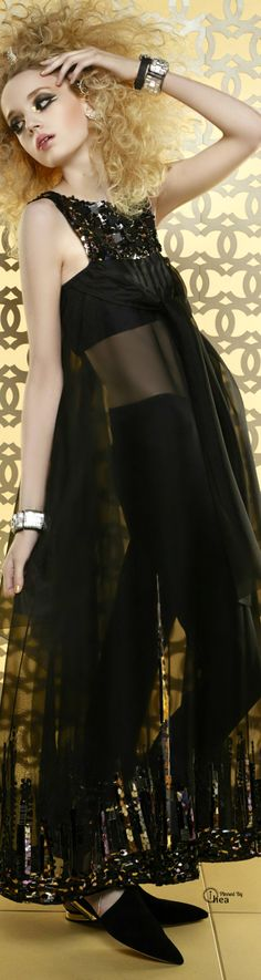Chanel ~ Cruise Resort Sheer Maxi Cover-Up Black 2015 Fashion In, Chanel Fashion, Womens Fashion, Fashion Trends, Karl Lagerfeld, Valentino, Chanel Couture, French Fashion Designers, Glamour