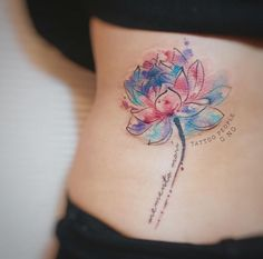 Watercolor Lotus Flower Tattoo by G.NO
