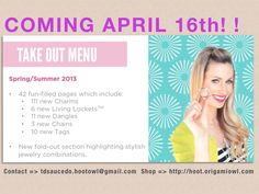 We are so EXCITED!! We can not wait to see all the new items that Origami Owl will release soon! NOW is the time to book your Origami Owl Jewelry Party! We are booking for the months of May, June & July, contact us NOW to get your party booked!