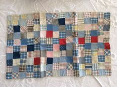 Very Nice Antique Hand Stitched Postage Stamp DOLL QUILT, eBay, sheeny_man