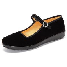 Black Canvas Buckle Dance Ballet Flat Mary Jane Chinese Style Shoes ($7.07) ❤ liked on Polyvore featuring shoes, flats, black ballet shoes, ballet flats, black canvas shoes, ballet pumps and round toe ballet flats