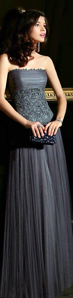 A long grey gown always looks so regal.  Rosa Clará ● 2014✿PM. Added by @chki via @carenomid. #RosaClara #gown