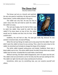 This Reading Comprehension Worksheet - The Clever Owl is for teaching reading comprehension. Use this reading comprehension story to teach reading comprehension.