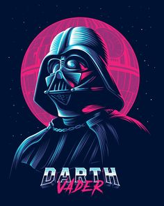 Darth Vader Retro Illustration - Star Wars Vader - Ideas of Star Wars Vader - Darth Vader Retro Illustration Darth Vader Star Wars, Anakin Vader, Darth Vader Artwork, Darth Vader Poster, Darth Vader Tattoo, Darth Vader Vector, Darth Sith, Anime Art Fantasy, Star Wars Poster