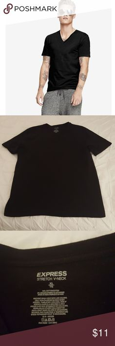 Men's Express v neck tee Men's black  V neck short sleeve tee by Express. 94% cotton and 6% spandex. Great used condition😊 Express Shirts Tees - Short Sleeve