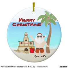Personalized Cute Santa Beach Merry Christmas Ceramic Ornament