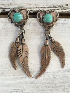 Temé Sterling Silver & Turquoise Heart Concho Earrings with Turquoise - Yourgreatfinds, Vintage Jewelry - 1