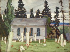 """North Country Church and Cemetery, Ontario,"" Lawren S. Harris, ca. oil on cardboard, x Montreal Museum of Fine Arts. Group Of Seven Artists, Group Of Seven Paintings, Paintings I Love, Emily Carr, Canadian Painters, Canadian Artists, Tom Thomson Paintings, Canada Images, Landscape Paintings"