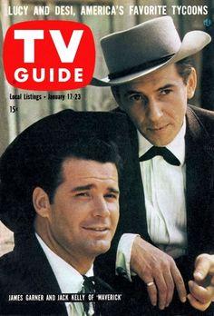 """James Garner and Jack Kelly --""""Maverick"""" TV Guide cover January 1959 Maverick Tv, Photo Fix, Jack Kelly, Vintage Television, Tv Westerns, Vintage Tv, Vintage Magazines, Old Tv Shows, Tv Episodes"""