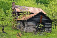 Vintage Appalachian Photos | Old chinked log house with stone chimney and tin roof in rural West ...