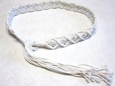 Vintage Macrame Fringe Belt White Braided Belt by sweetie2sweetie, $14.99