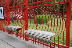 Fence with built-in benches at the Parc Jean Baptiste Lebas, Lille, France. Click image for full profile and visit the slowottawa.ca boards >> http://www.pinterest.com/slowottawa/