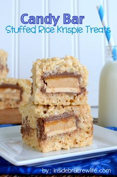 Candy Bar Stuffed Rice Krispie Treats - rice krispie treats go to another level when stuffed with candy bars http://www.insidebrucrewlife.com