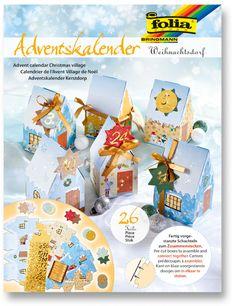 Adventskalender Weihnachtsdorf Fertig vorgestanzte Schachteln zum Zusammenstecken. Ideal geeignet für Ihre kleinen Geschenke zur Adventszeit. Vorder- , Rückseite unterschiedlich bedruckt. Vorderseite mit Glitter-Applikationen / Rückseite ohne...