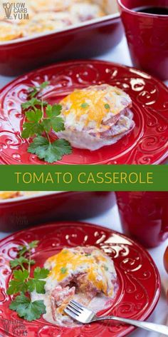 A Simple Tomato Casserole Dish Is A Fantastic Way To Enjoy Fresh Tomatoes From The Garden. It's A Tasty Summer Side Dish To Serve Along With Grilled Meat. Via Lowcarbyum Low Carb Dinner Recipes, Side Dish Recipes, Keto Recipes, Healthy Recipes, Free Recipes, Easy Recipes, Amazing Recipes, Healthy Food, Vegetable Side Dishes