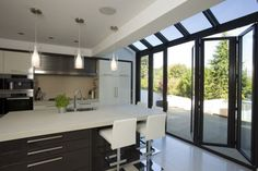 Kitchen extension with glazing over doors gives that little bit extra space