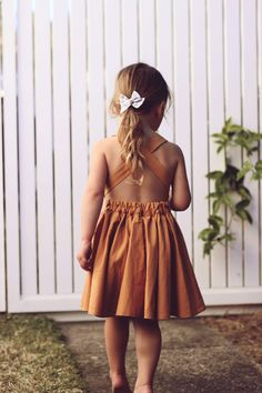 The Sunday pinafore in Spice - girls dresses - girls pinafore - mustard - girls dress - toddler dress - toddler clothing - girls clothing - Dresses Kids Girl, Cute Girl Outfits, Girls Party Dress, Toddler Girl Outfits, Toddler Dress, Toddler Fashion, Kids Outfits, Kids Fashion, Fashion Pics