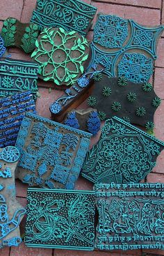 Indian printing blocks with turquoise stain