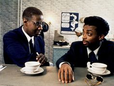 Actor/Director Spike Lee and Denzel Washington in a scene from the movie, 'Malcolm X' (1992)