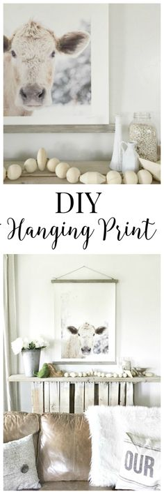 This DIY hanging print with a barnwood finish is so great. This print is so beautiful. #TwelveOnMain #diy #cowprint #farmhousedecor